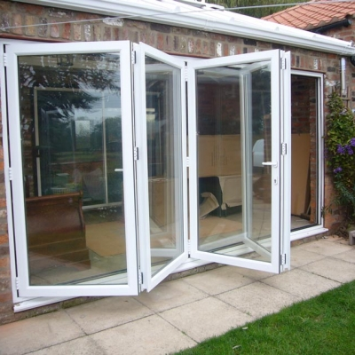 White bifold doors